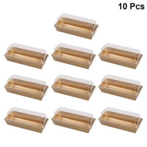 10pcs retangular papel kraft sanduíche caixas de embrulho bolo pão padaria caixa de embalagem de padaria com plástico limpo tampas1