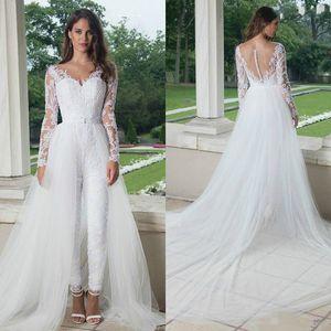 2020 Modest Jumpsuit Wedding Dresses Sweep Train Overskirt V Neck Long Sleeves Illusion Lace Applique Wedding Bridal Gown vestido de novia