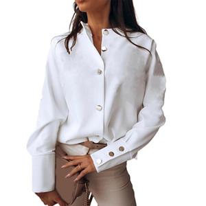 Женские блузки рубашки женские мода стойки воротник с длинным рукавом однобортные кнопки манжеты женская рубашка блузка 2021 повседневные свободные вершины 3 CO