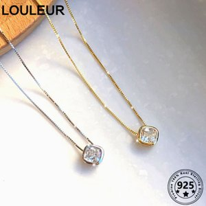 Louleur Simple 925 Sterling Silver Necklace Square Zircon Pendant Necklace For Women Silver 925 Fine Jewelry Charms All-Match Z1126
