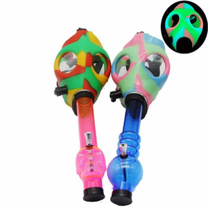 Gas Mask Bong Both Glow in the Dark Water Shisha Acrylic Smoking Pipe Sillicone Mask Hookah Tobacco Tubes Free Shipping FY2374