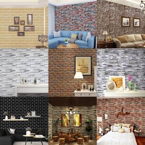 Home Decor 3D PVC Wood Grain Wall Stickers Paper Brick Stone wallpaper Rustic Effect Self-adhesive Home Decor Sticker Room1