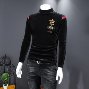 Men's long-sleeved t-shirt 2020 autumn and winter trend Slim-fit medium-thick warmth gold velvet high collar crown small bee embroidery