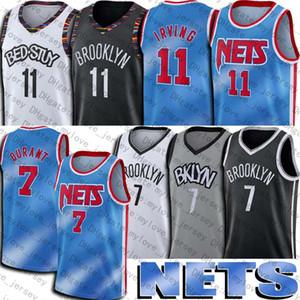 كيفن 7 ديورانت جيرسي كيري 11 كرة السلة إيرفينج الفانيلة بروكلينشبكاتجيرسي 2021 مدينة الأزرق التعادل صبغ نمط العودة إلى 1990s موحدة