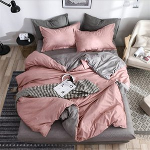 AB side textile solid simple bedding set Modern duvet cover sets king queen full twin linen brief bed flat sheet