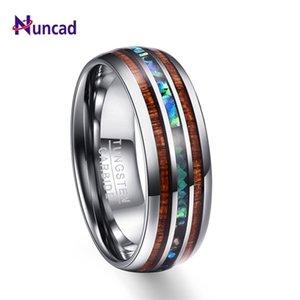 Nuncad 8mm Hawaiian Koa Wood и Abalone Shell Tungsten Carbide кольца свадебные кольца для мужчин Comfort Fit Размер 5-14 Hot Sall 201218