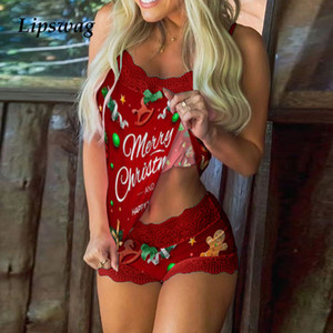 2020 Sexy Women Lace Sleeveless Pajama 2Pc Set Elegant Female Hollow Out Bow V Neck Suits Lady Vintage Print Home Sleepwear Suit Q0114