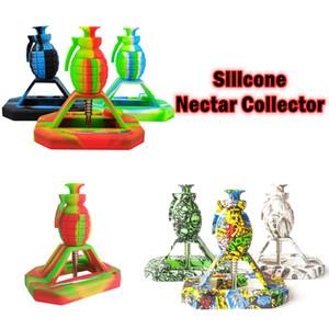 Grenade Silicone Nectar Collector Kits Wholesale Titanium Nail oil printing Collector 14MM straw Tip smoking silicone dai rig