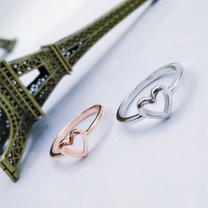 Love Coeur Bague en forme de coeur Simplicité Bijoux Gold Plaqué Argent Femme Mode Couple Couple Anneaux Valentines Ornements de la Saint Valentin 0 8YHA K2