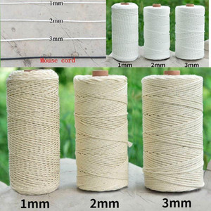 100% Natural Beige White Cotton Twisted Cord 1   2   3mm Diameter 100m For DIY Home Textile Craft Macrame Artisan Macrame String1