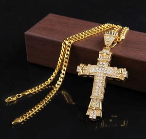 Retro Gold Cross Charm Pendant Full Ice Out CZ Simulated Diamonds Catholic Crucifix Pendant Necklace With Long Cuban Chain