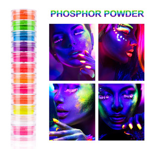 12 Colors Set Fluorescent Neon Pigment Eye Shadow Makeup Palette Glitter Shimmer Eyeshadow Face Body Nail Art Cosmetics Tools