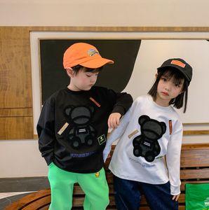 Çocuklar Ayı Mektup Baskılı Kazak 2021 Bahar Yeni Çocuk Yuvarlak Yaka Uzun Kollu Kazak Erkek Kız Karikatür Jumper 2-12TA5445