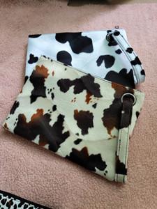 High quality fashion fur fleece cow print women purse khaki cow Clutch Wristlet zipper bag leopard handbag