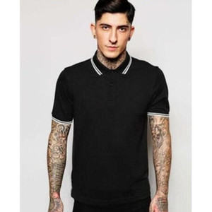 Classic Hommes London Mode Summer Fred Polo T-shirt Boys Haute Qualité GB Royaume-Uni Perry Perry Polos Loisirs T-shirts Coton Taille S-XXL Noir