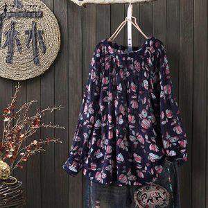 ZANZEA verano otoño 2020 mujeres floral impresión blusas camisa bohemia o cuello manga larga retro túnica suelta tops más tamaño S-5XL
