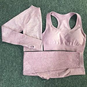 3PCS Yoga Set Vital Seamless Leggings Sports Bra+Long Sleeve Crop Top+Women Running Gym Leggings High Waist Fitness Sports Suit Z1125