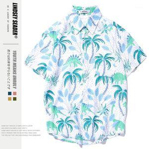 Women Shirts Blouses Mens Hawaii Beach Hot Palm Tree Style Full Printed Vintage Hip Hop Shirt Summer Single Breasted Men's Shirt1