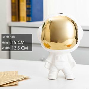 Figurines en céramique mignon de l'astronaute Accueil Décoration de table Accessoires Elimelim LJ200904