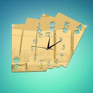 Relogio Parede Horloge murale décorative Creative 3D stéréo stéréo poker miroir numérique Horloge d'aiguille à jouer Stickers de carte Duvar Saati
