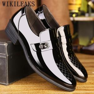 Mens Dress Shoes Office Party Italian Charol Designer Formal Shoes Men Loafers Man Sapato Social Masculino Herren Schuhe
