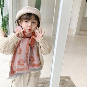 Flower Cashmere Long Scarf For Children Autumn Winter New Baby Scarf With Double-Sided Tassels Comfortable Long