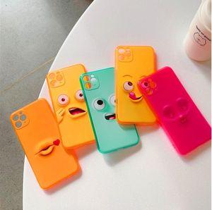 لطيف الكرتون مضحك التعبير الحالات الهاتف لفون 11 11Pro ماكس xr x xs 7 8 زائد se حلوى اللون الأزواج لينة الغطاء الخلفي