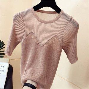 2021 New Bandeau stitching glitter silk bright Korean women's round neck short-sleeved western-style bottoming shirt K5UW