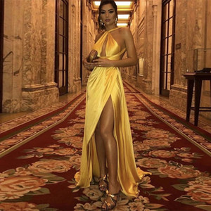 Sexy Open Back Long Prom Dresses Yellow Halter Sleeveless Simple Prom Gowns High Slit Evening Party Dresses