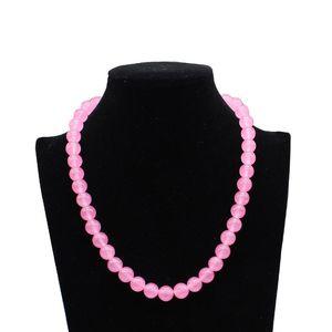 8mm 10mm Simple Natural Pink Quartz Blue Opal Moon Stone String Beaded Choker Necklace Women Statement Jewelry Colar Feminino