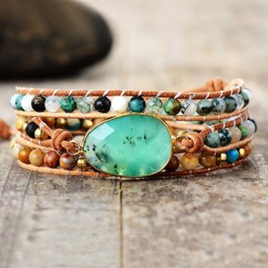 Exclusive New Women Bracelets Natural Stone Lava Beads 3 Strands Leather Wrap Bracelet Beads Bracelets Femme Dropshipping Q1201