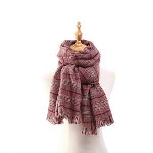 HOUMDSTOOTH The Wool Soinning Scarf Sweet Style Scarf Windproof and Thickened Scarf Tassel Shawl