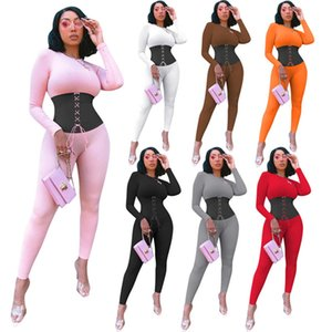 Women fall winter clothing bodysuits S-2XL sexy skinny slim long sleeve jumpsuits lace up one piece pants solid color rompers overalls 3986
