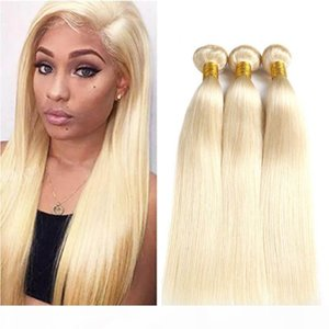 Brazilian Human Hair 613 Straight Blonde Bundles with Lace Frontal Closure Pre Plucked Cuticle Aligned Hair 13*4 Inch Ear to Ear Closure