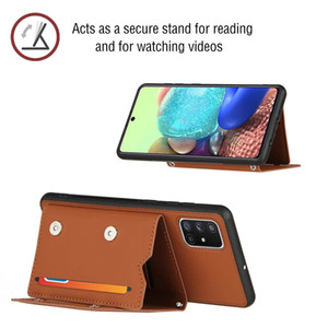 3 Card Slot Skin Feel Leather Case For Samsung M51 S20 FE NOTE 20 Ultra A21S A31 A51 A71 A81 A91 A30 A50 A70 Stand Flip Cover Phone Fashion
