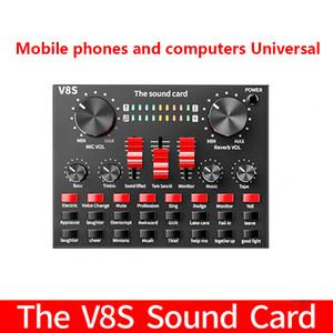 V8S Microphone de téléphone mobile Live USB Carte son externe pour ordinateur mobile Carte sonore audio avec Bluetooth