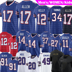 17 Josh Allen Jersey 14 Stefon Diggs Buffalo Zack Moss Jersey Jim Kelly Thurman Thomas Cole Beasley Tremaine Edmunds Tre'Davious Branco 20 11