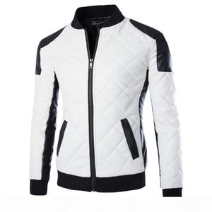 2020 New Brand Slim Men Bomber Jackets Casual Fashion Plaid PU Leather Jacket Men Jaqueta de couro Black White Plus Size 5XL 6XL