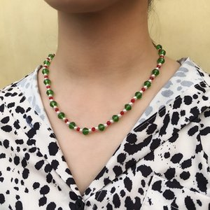 European and American Christmas Day new jewelry classic red and green imitation crystal handmade beaded long necklace bracelet