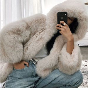 Uppin Mujeres suave con capucha Invierno Faux Fox Abrigos Furry Luxury Womens Fake Fur Fur High Calidad Chaqueta Femenina Abrigo
