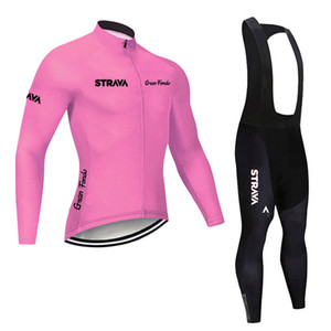 2019 Pro Team STRAVA Cycling Jersey Set Men Breathable Mountain Bike Outfits Long Sleeve Racing clothing Bicycle Sports uniform Y091101