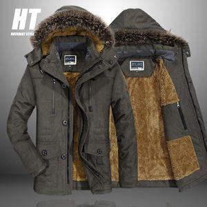 Brand Warm Winter Men Jacket Fur Collar Hooded Thicken Parkas Coat High Quality Fleece Casual Windproof Slim Parkas 7XL