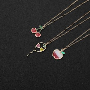 Colorful Flying Balloon with Hearts Necklace Red Color Cherry Chain Necklaces Cartoon Enamel Colorful Fruit Apple love Necklace