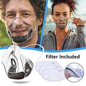 Créateur PC Transparent Clear Face Masque anti-brouillard Masques de visage Visage Protection Adultes Face Masque anti-poussière Masques à la bouche respirant avec filtre Fy9339