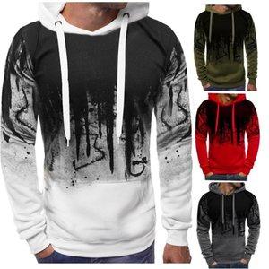 Mann soild farbe mit kapuze sweatshirt langarm pullover hemd gedruckt lässig mens top outdoor sport beiläufige sweatshirt set