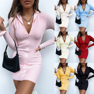 Europe and America Autumn And Winter New women's casual Tight fashion Sexy v-neck zipper nightclub mini Long sleeve dress wear for women