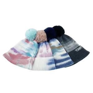 Ayrılabilir POM Beanie Kelepçeli Kış Şapka Tye Kravat Boya Örme Slouchy Tuque Kafatası Kap Açık Sıcak Örgü Tığ Şapkalar Kayak Şapkalar LY11273