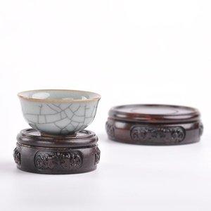 Ebony wood carving handicraft ornament base solid wood round vase flowerpot Buddha statue strange stone teapot base wooden