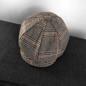 2020 Vintage Men's Cotton Blend Striped Lattice Newsboy Caps High Quality Flat Octagonal Golf Driving Hat Accessories LJ201212