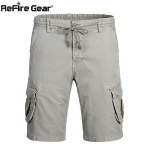 ReFire Dişli Ordu Combat Şort Erkekler SWAT Taktik Stil Çalışma Kargo Kısa Pantolon Casual Pamuk Elastik Bel Kısa Pantolon